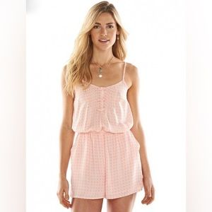 Lauren Conrad Pink and White Romper Size 4